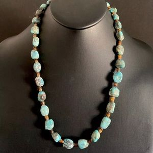 Jewelry - S.Silver TurquoiseNuggets with Heishi BeadNecklace